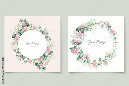 eucalyptus flower wedding invitation card set #454117328
