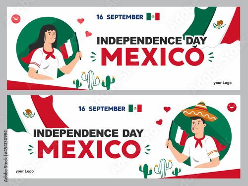 Obraz na plátně mexican independence day illustration, september 16th poster for background