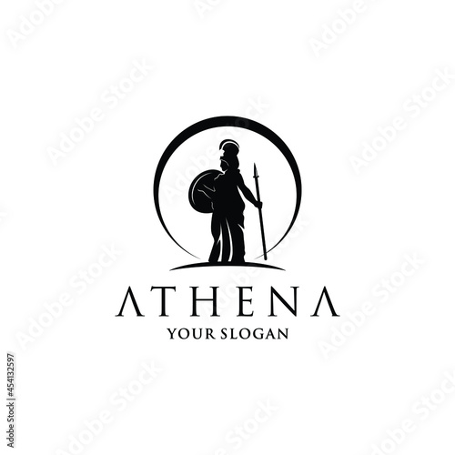 Photo Silhouette of Athena Minerva with Shield and Spear and moon , The Beauty Greek R