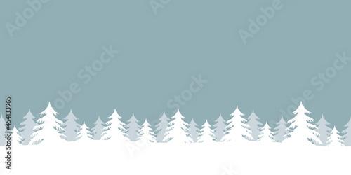Fototapeta blue winter landscape fir border with snow