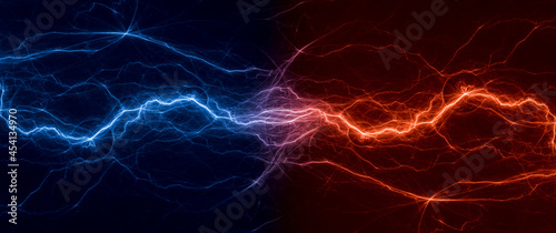Fotografie, Obraz Fire and ice lightning, abstract plasma background