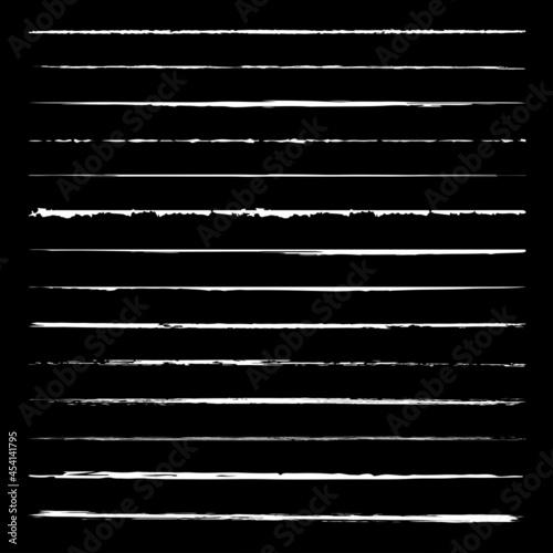 Fototapeta White Grunge Lines Vector Paint Brush Collection