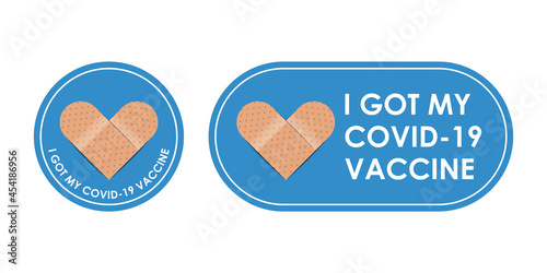 Fotografia, Obraz Vaccinated bandages icon with quote - I got covid 19 vaccine isolated on white b