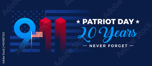 9 11 Patriot Day memorial 20th anniversary September 11, 2001 banner - vector illustration with US flag, stars and stripes background