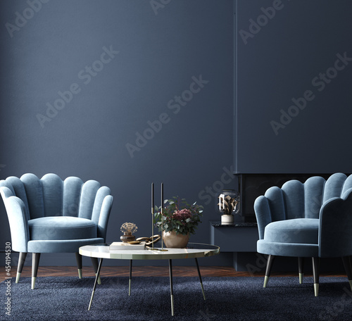 Home interior, luxury modern dark living room interior with armchairs and decor on table near fireplace, 3d render