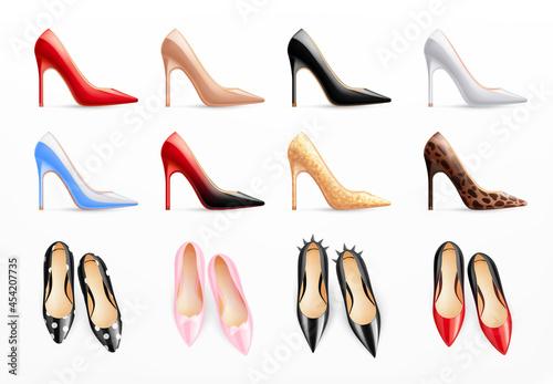 Canvastavla Women Shoes Realistic Set