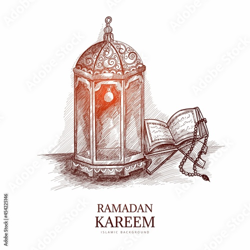 Hand drawn sketch the holy book of the Koran on the stand background Fototapet