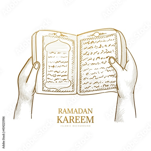 Fotografiet Hand drawn sketch the holy book of the Koran background