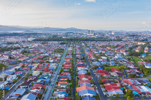 Obraz na plátně Bird eyes view of local housing houses