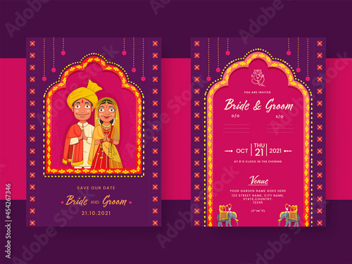 Canvastavla Indian Wedding Invitation Card With Hindu Bridegroom Character In Purple And Pink Color