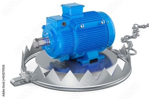 Bear trap with electric motor, 3D rendering Fototapet