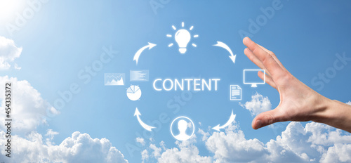 Foto Content marketing cycle - creating, publishing, distributing content for a targeted audience online and analysis