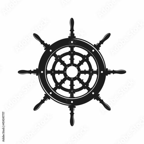 Obraz na plátně Steering Wheel Ship Yacht Compass Transport logo design