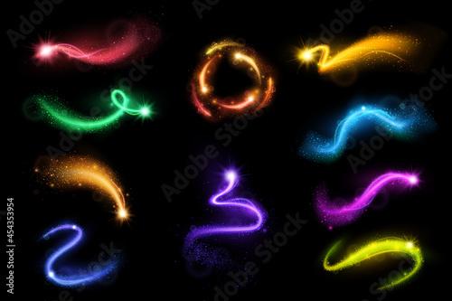 Obraz na plátně Multicolored Bright Sparkles And Stardusts