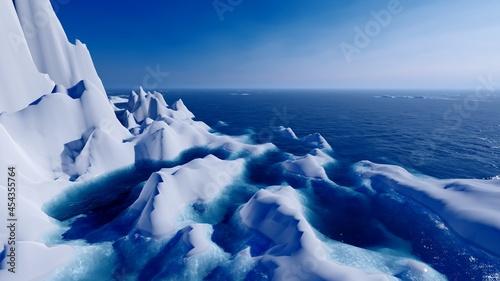 Billede på lærred Scenic landscape ocean and glacier 3d render