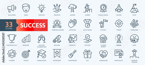Valokuva Web Set of Success, Goals and Target Related Vector Thin Line Icons