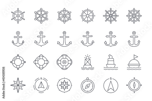 Fotomural Vector icons of ship steering wheel, anchor, lifebuoy and buoy, compass, wind pose