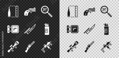 Canvastavla Set Bullet, Small gun revolver, Pistol or search, Sniper optical sight, Hunting, MP9I submachine, shop weapon and Bayonet rifle icon