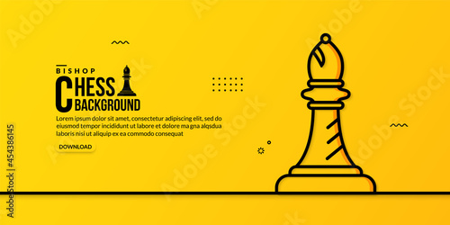 Fotografia, Obraz Chess bishop linear illustration on yellow background, concept of business strat