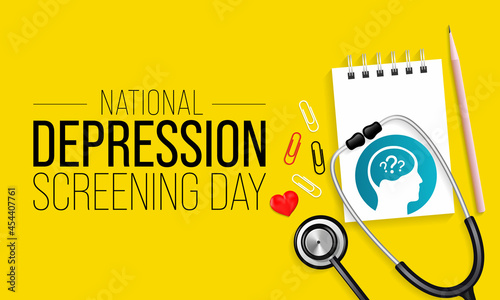 Fotografie, Obraz National Depression Screening day is observed every year in October, to raise awareness about mental health disorders in an effort to eliminate the stigma and provide better access to treatment