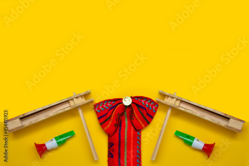 Fototapeta Typical folklore, Mexican ribbon with decoration of independence day
