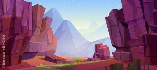 Obraz na plátně Vector mountain landscape with canyon