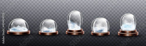 Canvas Realistic glass domes with snow, christmas globes