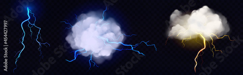 Fotografia Vector realistic clouds with lightning bolts