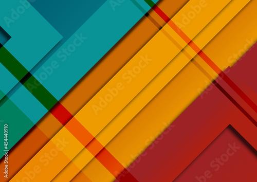 Abstrakcyjne tło - kolorowe warstwy, kształty, światla i cienie. Dynamiczna kompozycja, geometryczne tło na okładki, banery, ulotki, plakaty, tapeta na blog lub social media story. #454440910