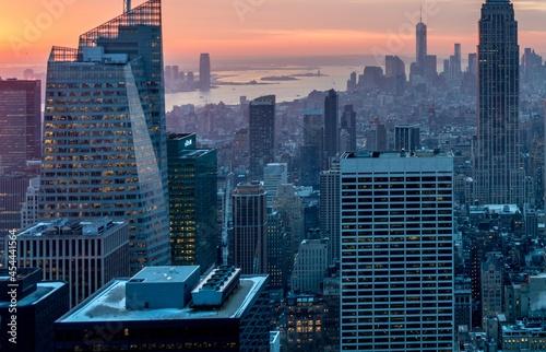 Fototapeta View of New York Manhattan during sunset hours