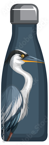 Fotografie, Tablou A thermos bottle with blue pelican pattern