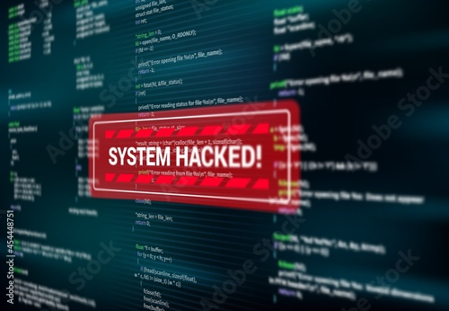 Tela System hacked, warning alert message on screen of hacking attack, vector