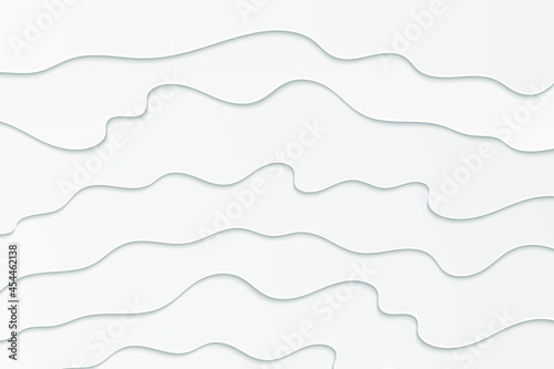 Wavy white illustration. Abstract paper cut background. Fotobehang