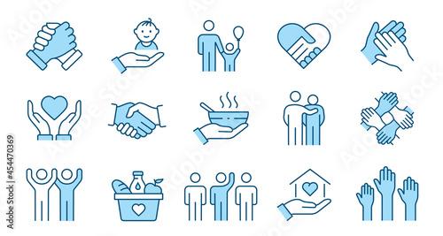 Canvas Print Charity line icon set