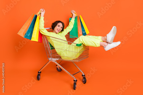 Photo Portrait of attractive cheerful girl sitting in cart holding bags having fun hol