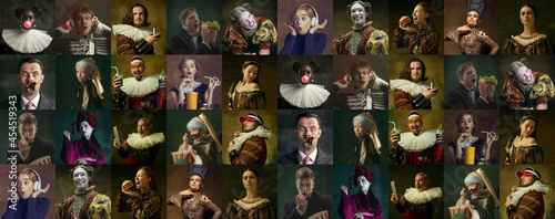 Canvastavla Collage of medieval men and women as a royalty persons in vintage clothing on dark background