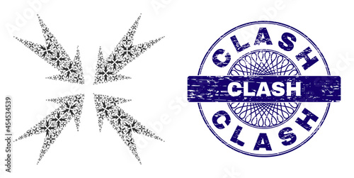 Obraz na płótnie Recursive mosaic compression arrows and Clash round textured stamp