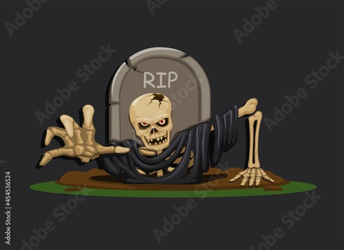 Obraz na plátně Dead man skeleton raising from a grave