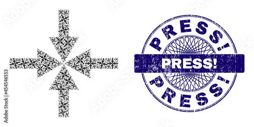 Obraz na plátne Recursion collage compress arrows and Press! round textured stamp seal