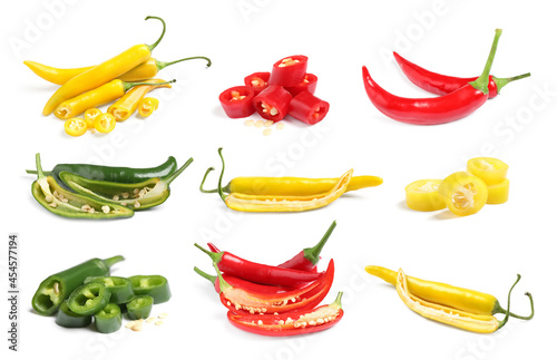 Set with different chili peppers on white background фототапет