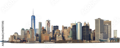 Obraz na plátně High resolution panoramic view of Lower Manhattan from the ferry - isolated on white