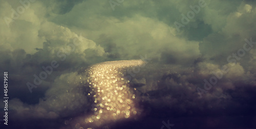 Abstract image of golden path in cloudy sky Fototapet