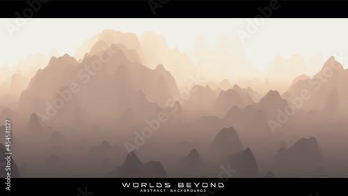 Obraz na płótnie Abstract beige landscape with misty fog till horizon over mountain slopes