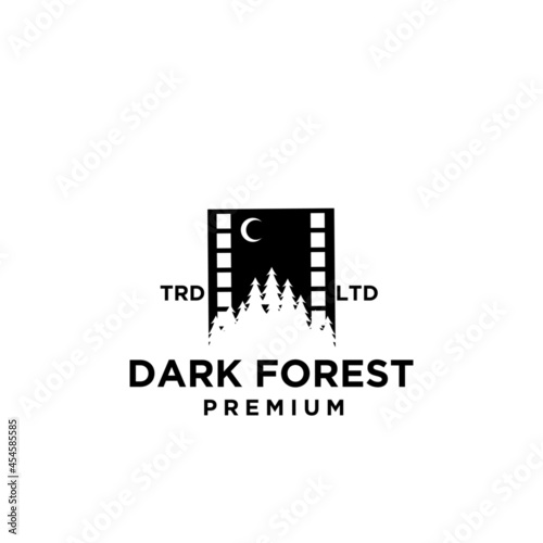 Canvastavla Premium pine forest at night with moon film vector black logo