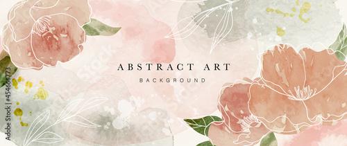 Valokuva Autumn flower watercolor art background vector