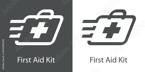 Obraz na plátne Logo con texto First Aid Kit con silueta de maletín con cruz con lineas de veloc