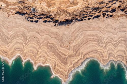 Fototapeta Sinkholes in The Dead Sea coastline, Aerial view.