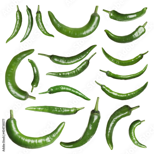 Set with green chili peppers on white background Fotobehang