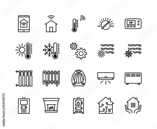 Fotografie, Obraz Climate control flat line icons set