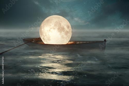 Fototapeta Moon in a boat (3D-Rendering)